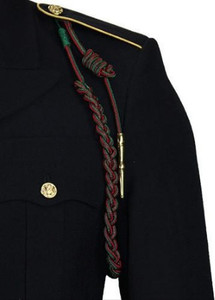 Army Fourragere (Lanyard)- French WWII - green and red with polish brass tip
