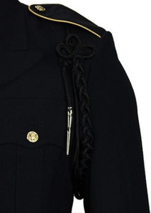 Army Shoulder Cord: 2720 Black Rayon with Silver Tip
