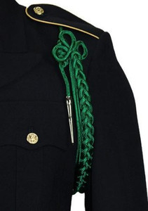 Army Shoulder Cord: 2720 Kelly Green Rayon with Silver Tip