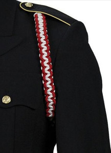 Army Shoulder Cord: 2723 Interwoven Scarlet Red and White
