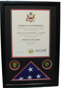 U.S. Military Retirement Certificate Shadow Box