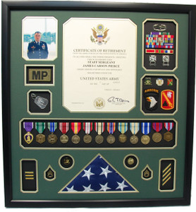 U.S. Army Retirement Certificate Shadow Box with Flag