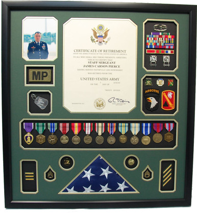 U S Army Retirement Certificate Shadow Box With Flag