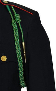 Marine Corps Fourragere Lanyard WWI - green with gold spots and brass tip