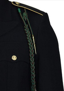 Marine Corps Fourragere Lanyard WWI - green with red spots and polish brass tips