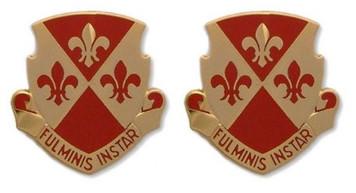 Army Crest: 104th Regiment - Fulminis Instar- pair