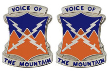 Army Crest: 10th Signal Battalion - Voice of The Mountain- pair