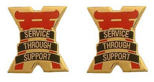 Army Crest: 10th Support Group - Service through Support- pair