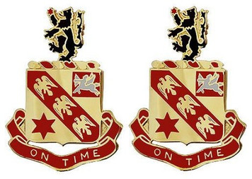 Army Crest: 11th Field Artillery - On Time- pair
