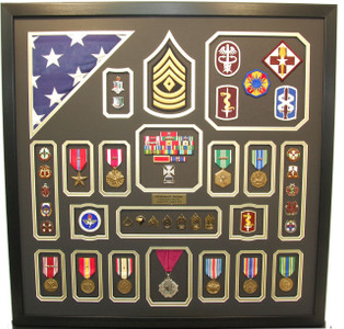 U.S. Army Retirement Shadow Box with Flag