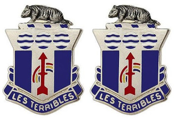 Army Crest: 127th Infantry: Wisconsin Army National Guard - Les Terribles- pair