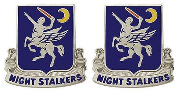 Army Crest: 160th Aviation Battalion - Night Stalkers- pair