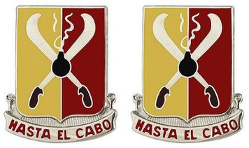 Army Crest: 162nd Field Artillery Regiment - Hasta El Cabo- pair