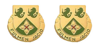 Army Crest: 185th Armor Battalion - Fulmen Jacio- pair