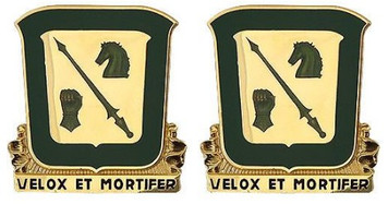 Army Crest: 18th Cavalry Regiment - Velox Et Mortifer- pair