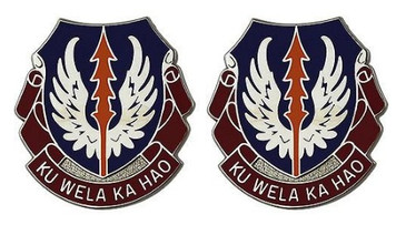 Army Crest: 193rd Aviation: Hawaii Army National Guard - Ku Wela Ka Hao- pair