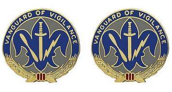 Army Crest: 205th Military Intelligence Brigade - Vanguard of Vigilance- pair