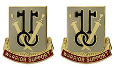 Army Crest: 225th Support Battalion - Warrior Support- pair
