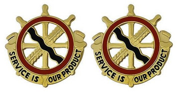Army Crest: 24th Transportation Battalion - Service is our Product- pair