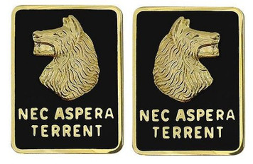 Army Crest: 27th Infantry Regiment - Nec Aspera Terrent- pair