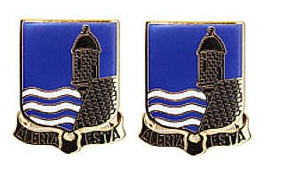 Army Crest: 296th Infantry Regiment - Alerta Esta- pair