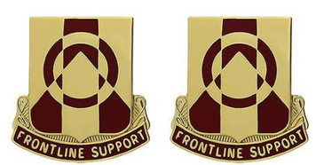 Army Crest: 296th Support Battalion - Frontline Support- pair