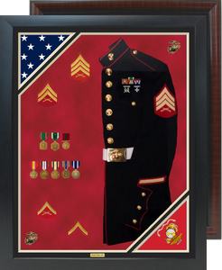 "30"" x 38"" Double Flag Uniform Shadow Box"