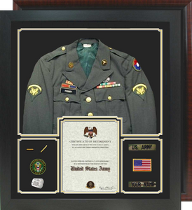 "30"" x 34"" Retirement Certificate Uniform Shadow Box"
