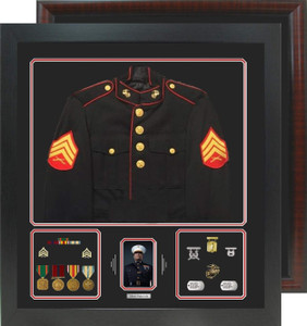 "29"" x 32"" Uniform Shadow Box with Photo Window"