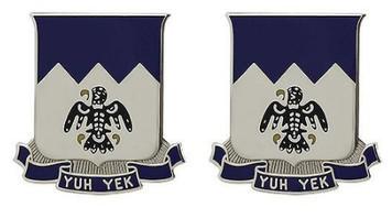 Army Crest: 297th Infantry: Alaska Army National Guard - Yuh Yek- pair