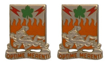 Army Crest: 307th Signal Battalion - Optime Merenti- pair