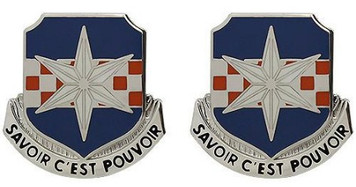 Army Crest: 313th Military Intelligence Battalion - Savoir C'est Pouvoir- pair