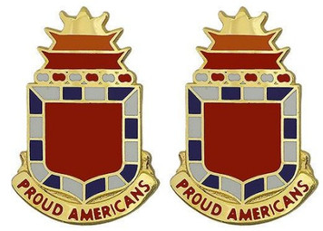 Army Crest: 32nd Field Artillery - Proud Americans- pair