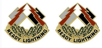 Army Crest: 335th Signal Command - Ready Lightning- pair