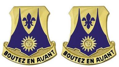 Army Crest: 356th Regiment - Boutez En Avant- pair
