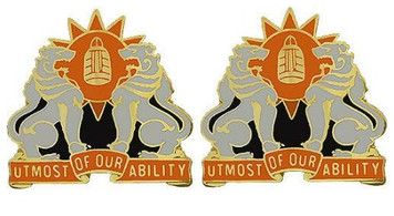 Army Crest: 35th Signal Brigade - Utmost of Our Ability- pair