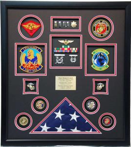 United States Marine Corps Flag Shadow Box Display