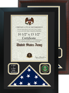 """16"""" x 24"""" Retirement Certificate Frame w/ Flag Shadow Box and Coin Windows"""