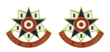 Army Crest: 376th Personnel Services Battalion - Proud and Accurate- pair