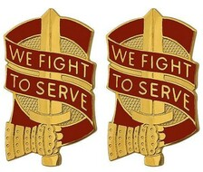 Army Crest: 45th Sustainment Brigade - We Fight to Serve- pair