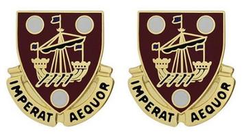 Army Crest: 483rd Transportation Battalion - Imperat Aequor- pair