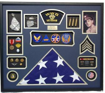 World War II Veteran Shadow Box Display with Photos