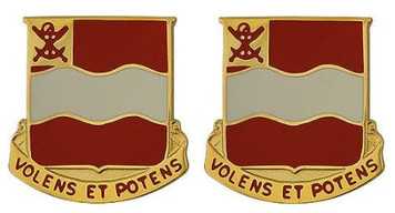 Army Crest: 4th Engineer Battalion - Volens Et Potens- pair
