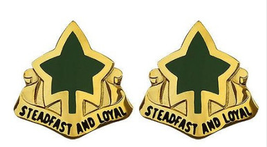 Army Crest: 4th Infantry Division - Steadfast and Loyal- pair