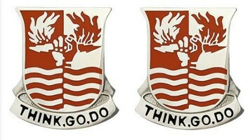 Army Crest: 504th Signal Battalion - Think Go Do- pair