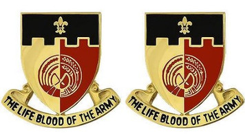 Army Crest: 64th Support Battalion - The Life Blood of the Army- pair