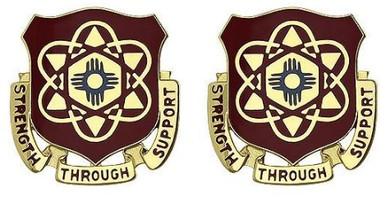 Army Crest: 67th Maintenance Battalion - Strength Thru Support- pair