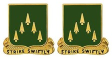 Army Crest: 70th Armor - Strike Swiftly- pair