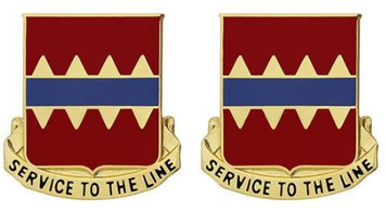 Army Crest: 725th Support Battalion - Service to The Line- pair