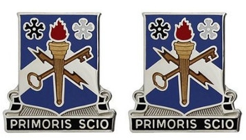 Army Crest: 741st Military Intelligence - Primoris Scio- pair
